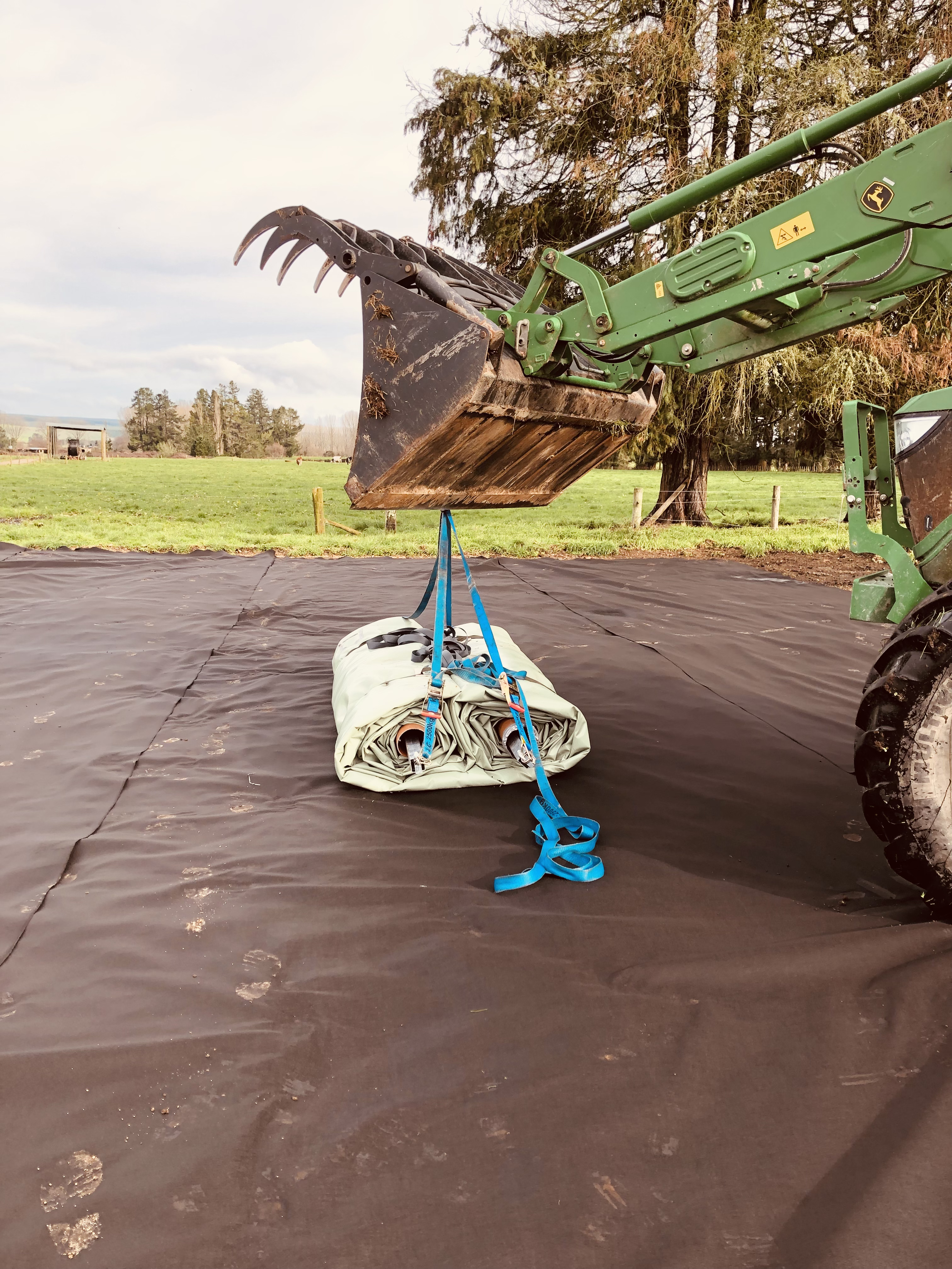 Geotextile protection down, ready for roll out